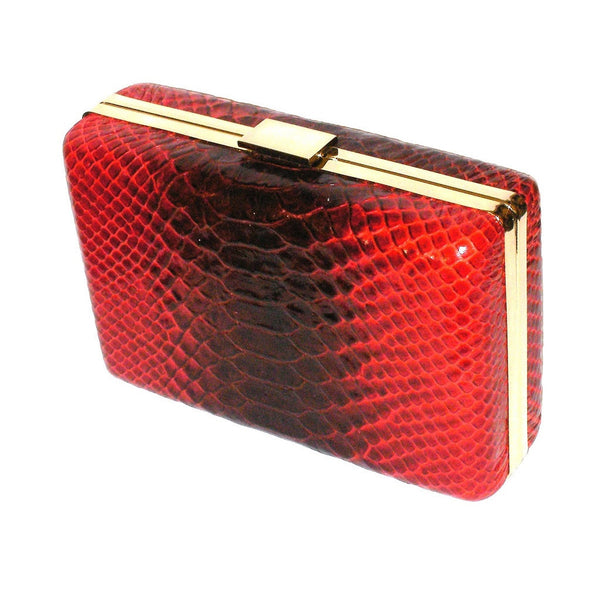 Burgundy Leather Snake Print Box Clutch
