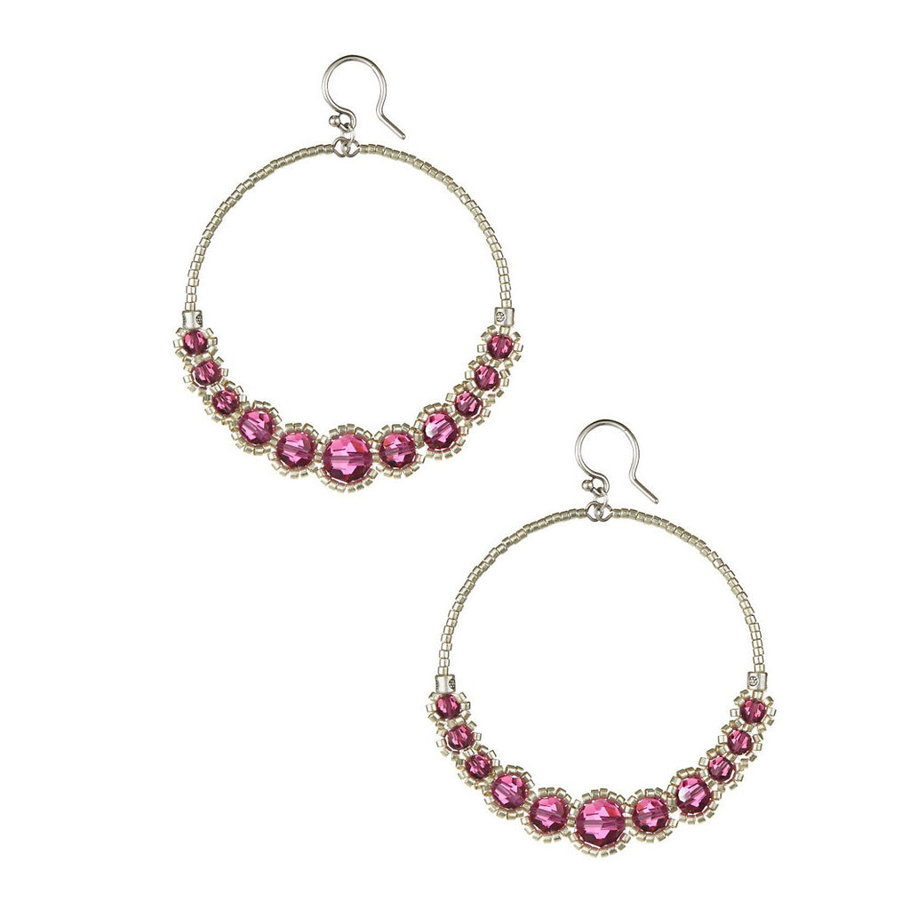 Chan Luu Pink Stone Hoop Earrings.