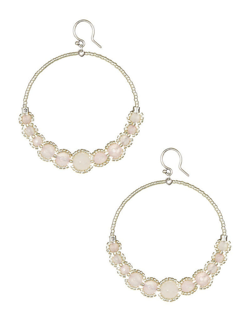 Chan Luu Rose Quartz Hoop Earrings.