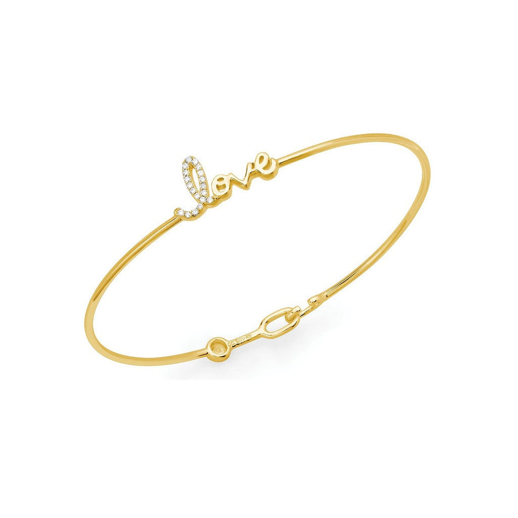 CRISLU Micro Pave Love Bangle Gold