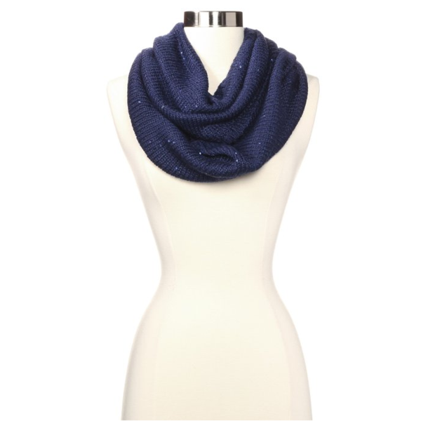 Calvin Klein Navy Sequined Infinity Scarf