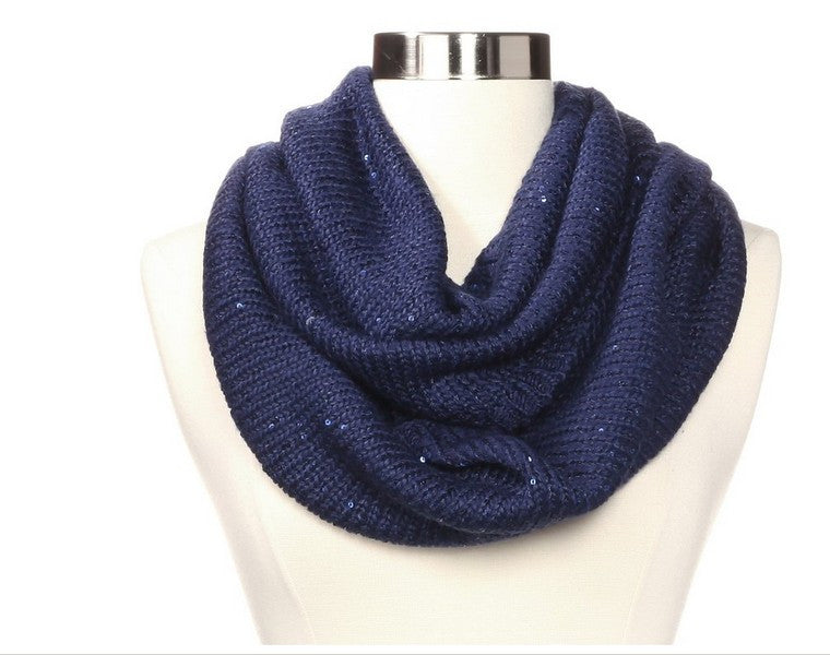 Calvin Klein Navy Sequined Infinity Scarf Closeup