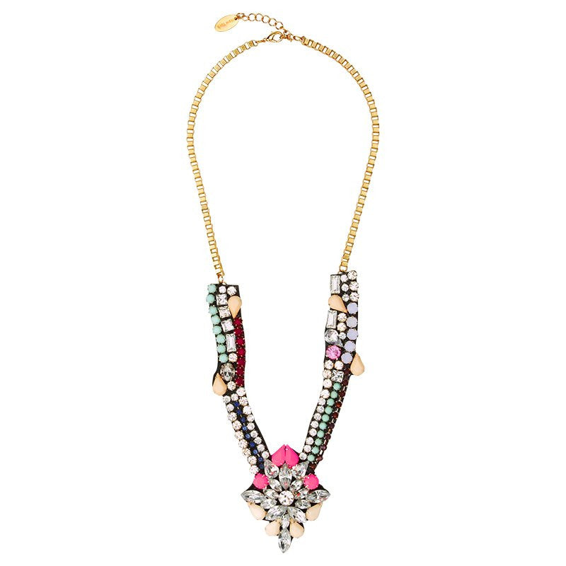 Cara Accessories Crystal Deco Necklace in Coral and Beige