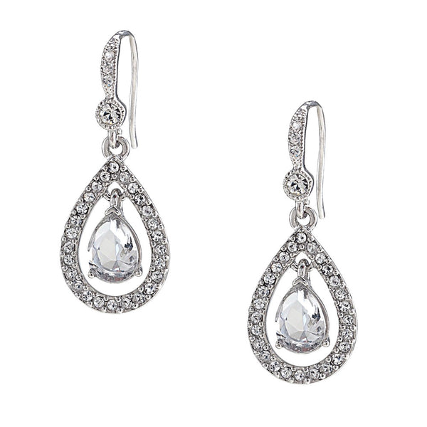 Carolee Kate Crystal Teardrop Pierced Earrings