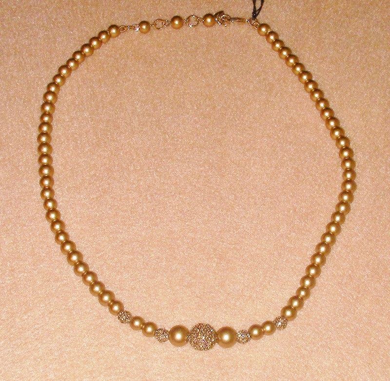 Carolee Gold Pearl and Pave Ball Necklace Top View