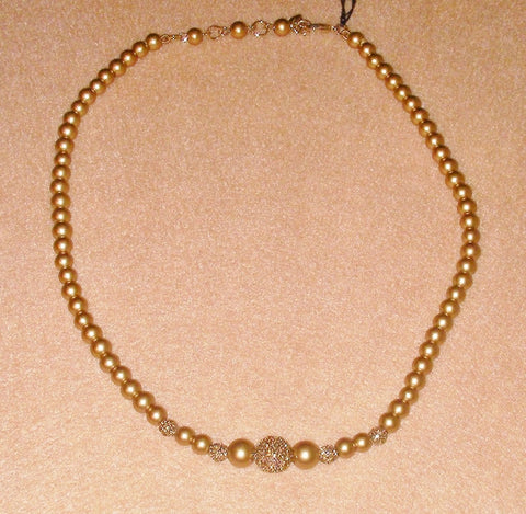 Carolee Gold Pearl and Pave Ball Necklace