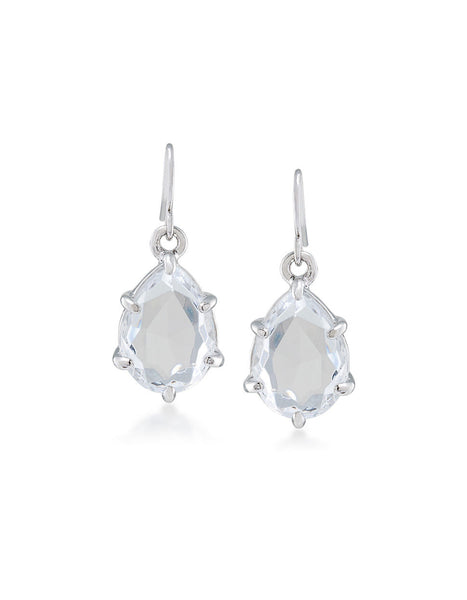 CAROLEE Clear Drop Silver Tone Pierced Earring