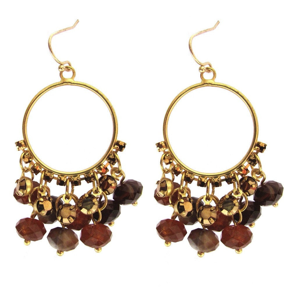 Charter Club Amber Brown Bead Hoop Earrings