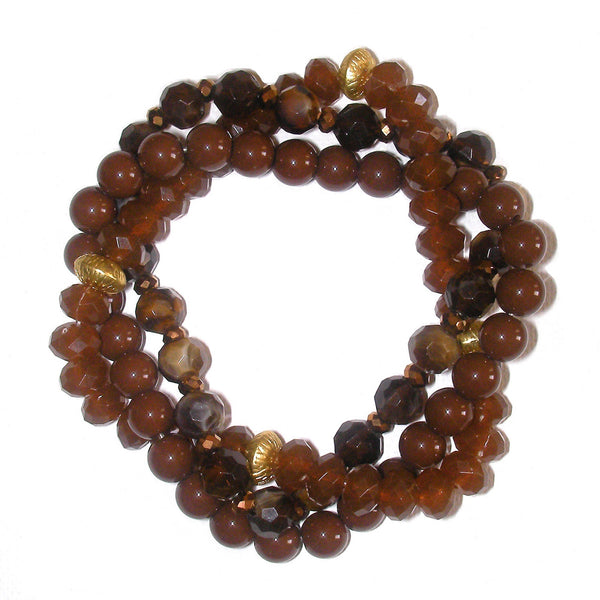 Charter Club Multiple Row Twisted Bead Bracelet - Amber Brown