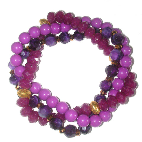 Charter Club Multiple Row Twisted Bead Bracelet - Radiant Orchid