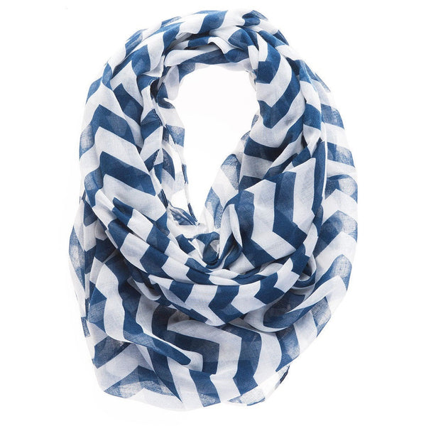 Chvron Infinity Scarf Layer your look this summer in cool nautical style with this Chevron Loop Scarf featuring a blue chevron print allover.