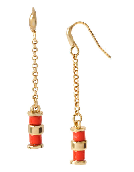 DIANE VON FURSTENBERG Paloma Beach Spokes Coral Earrings