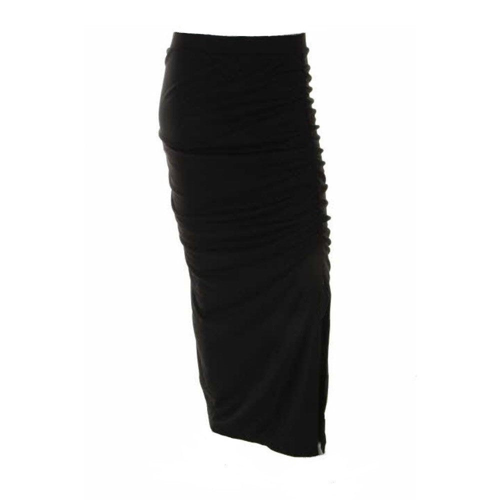 DKNY City Icons Ruched Side Slit Maxi Skirt lavish ruching shapes the curve-hugging silhouette of an elegant maxi skirt eased with a high slit at one side