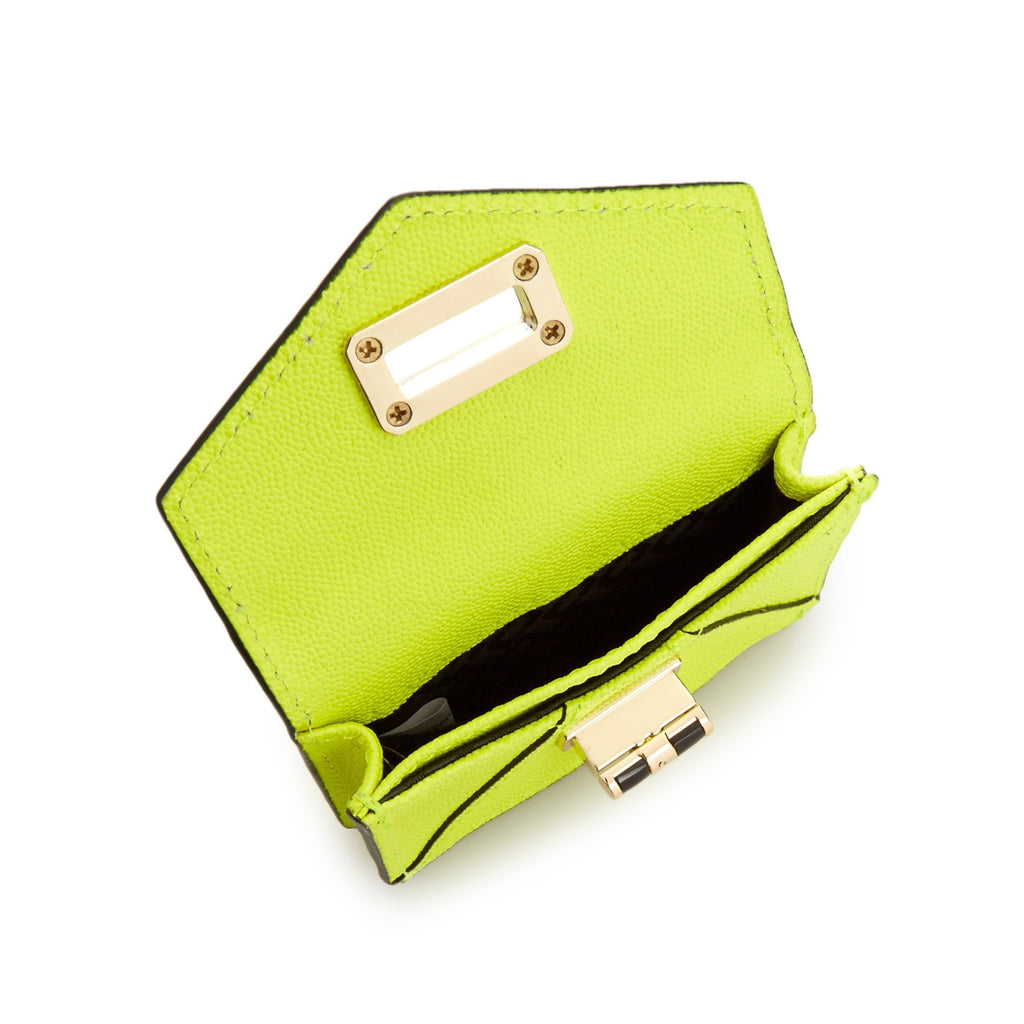 DIANE VON FURSTENBERG Turnlock Leather Card Case - Open