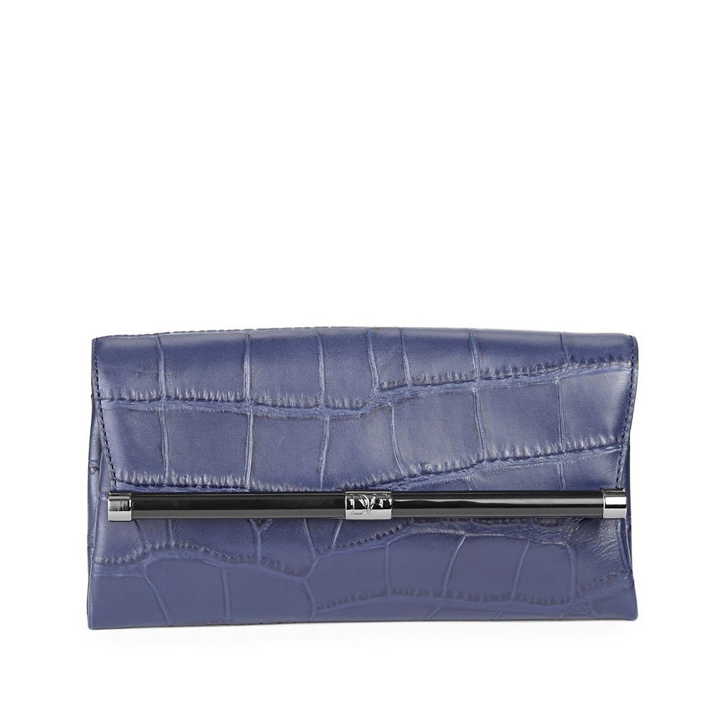 DIANE VON FURSTENBERG Embossed Leather Envelope Clutch - Front