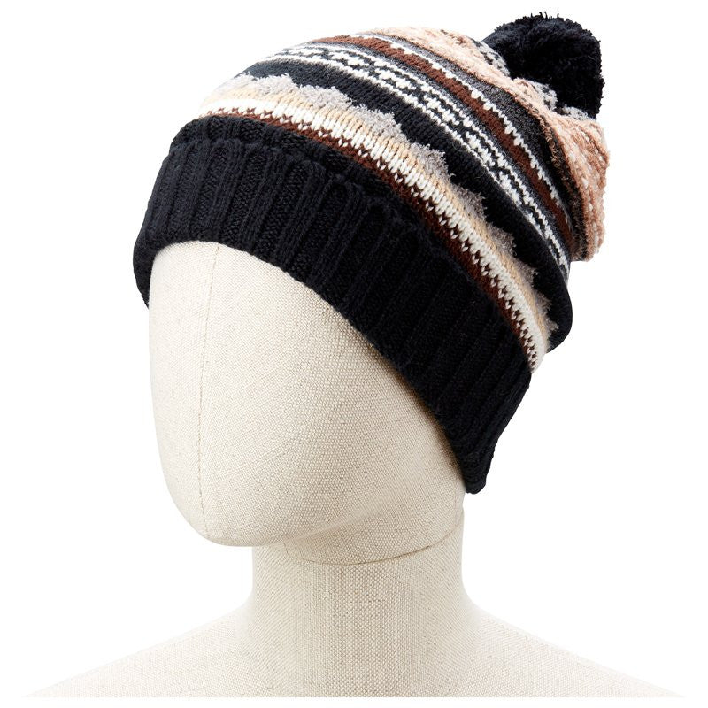 ECHO  Northern Fairsle Cuffed Pom Pom Beanie on Mannequin