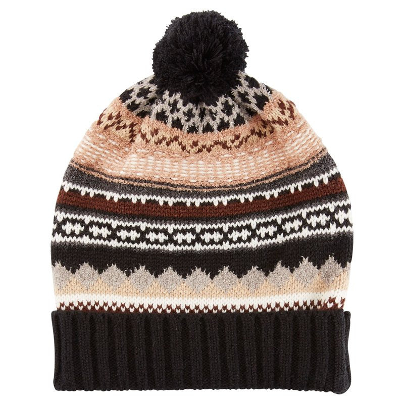 ECHO  Northern Fairsle Cuffed Pom Pom Beanie