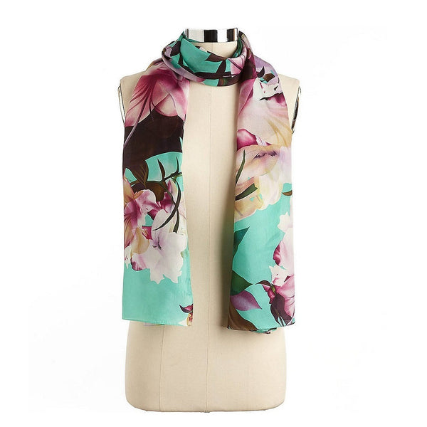 Echo Mint Green Floral Silk Scarf