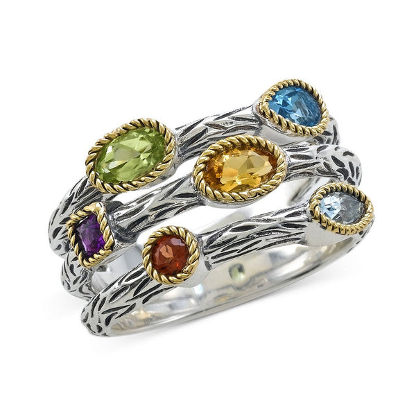 EFFY Multistone Three Row Band in Sterling Silver and 18k Gold