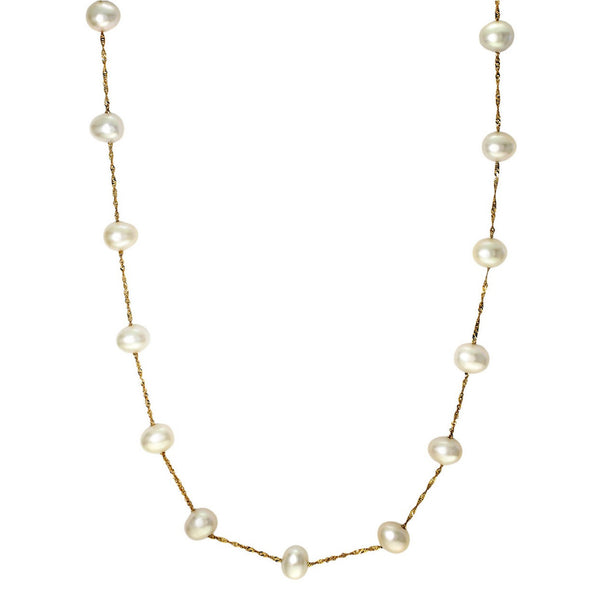 Effy White 14kt Gold Freshwater Pearl Necklace Add a touch of classic glam to your look
