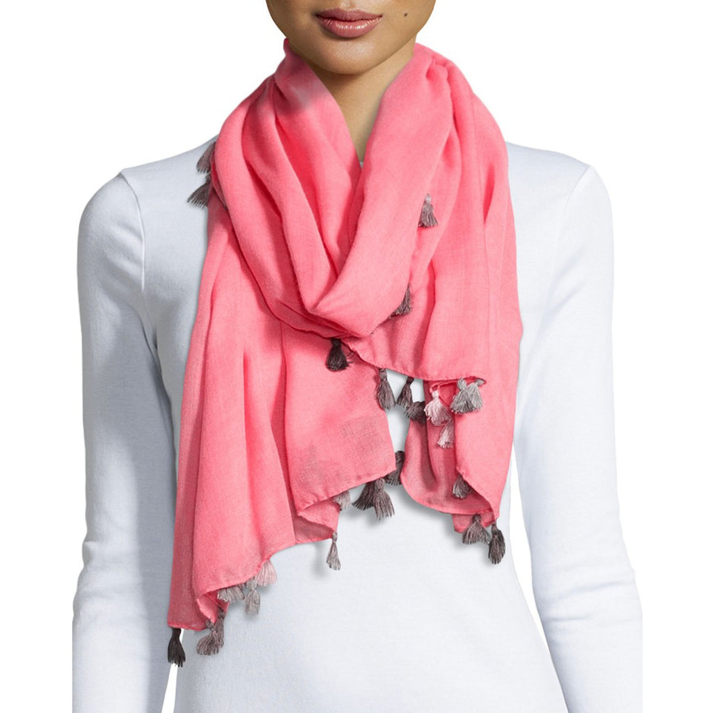 Elie Tahari Pink Ombre Tassel Scarf Adorned By Grey And Cream Tassels On Model