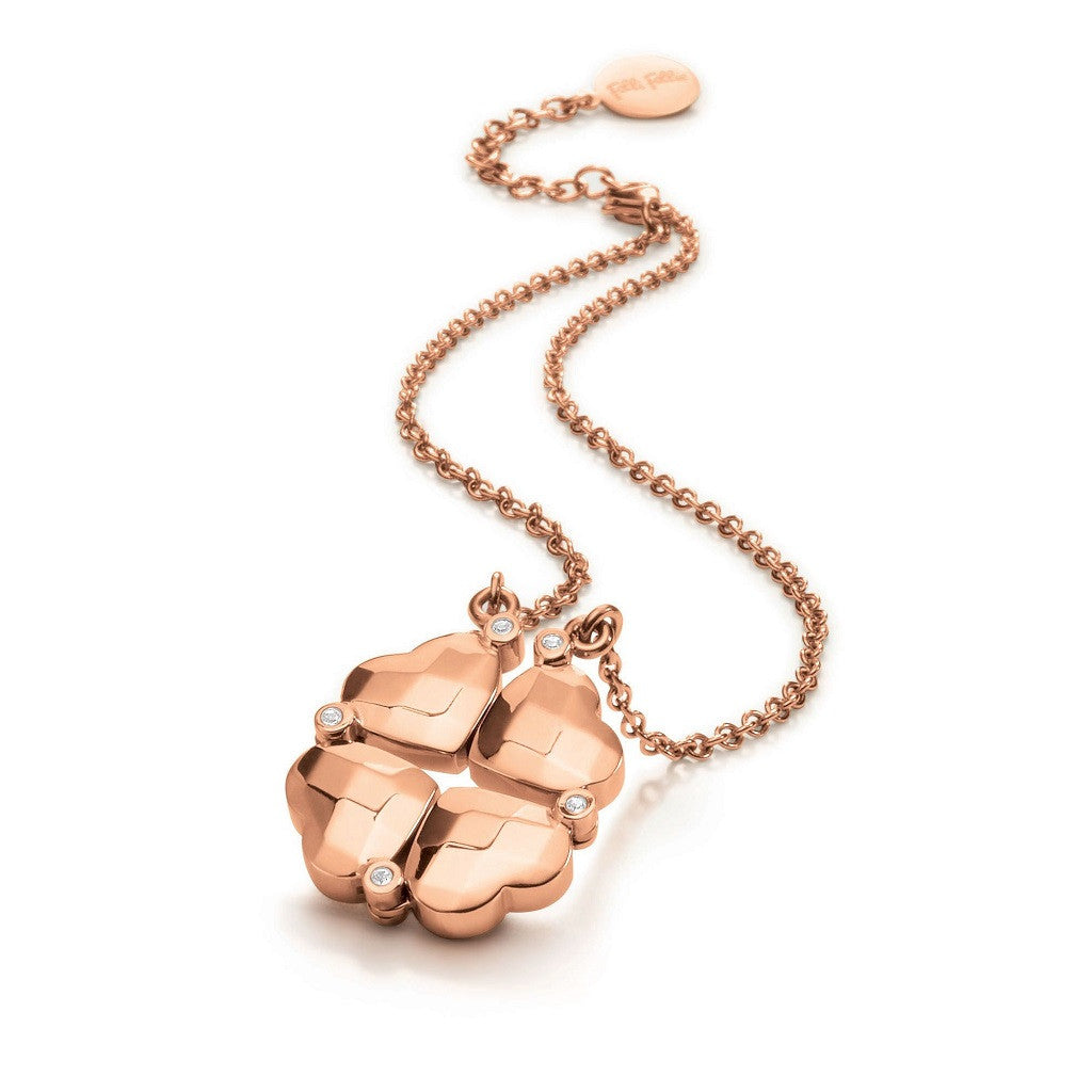 Folli Follie Rose Gold Heart 4 Heart Necklace