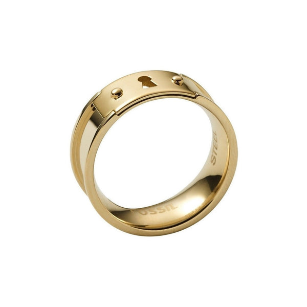 Fossil Gold tone Vintage Icon Keyhole Stainless Steel Ring