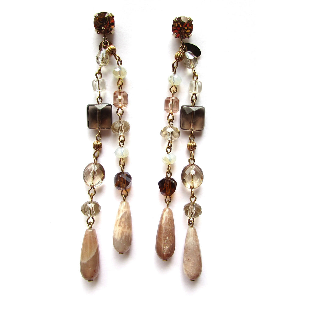 Furla Semi Precious Stones Long Earrings featuring quartz and natural stones. Post back earrings.