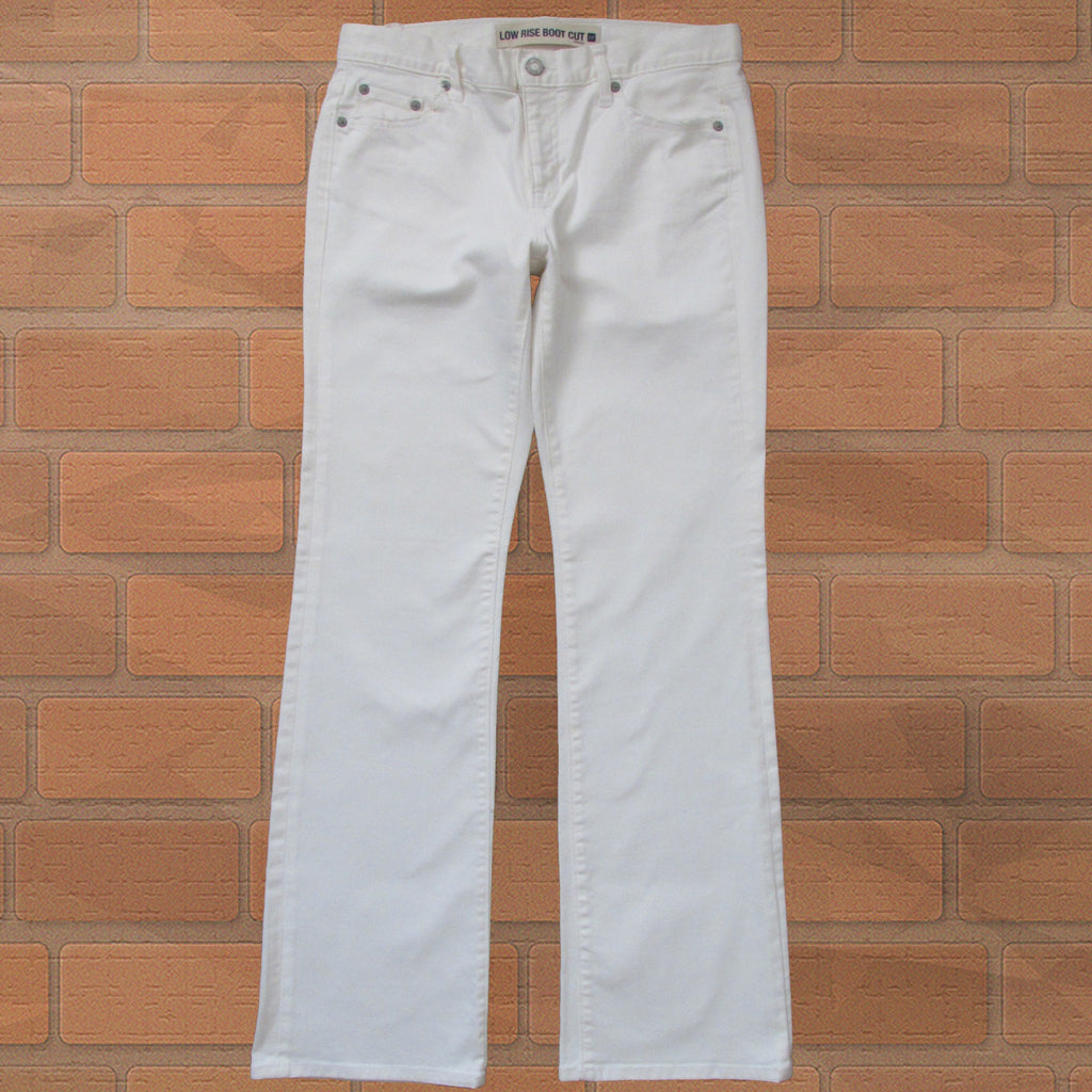 GAP Low Rise Boot Cut White Jeans Front Straight View