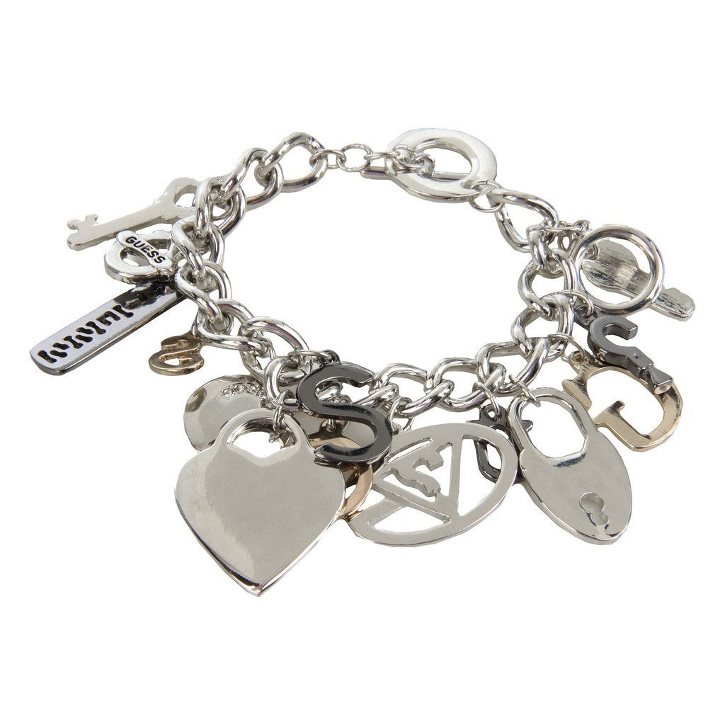Guess Multi Hearts Rhinestone Logo Charm Bracelet Rear View