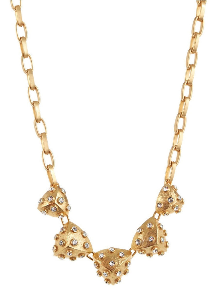 Gerard Yosca crafted in 22 Karat gold plated necklace encrusted with Swarovski crystals