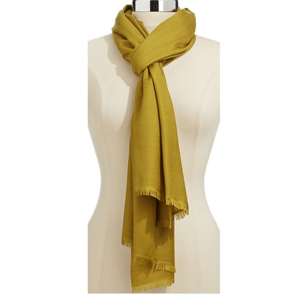 Lord & Taylor Wool Silk Blend Gold Chartreuse Shawl