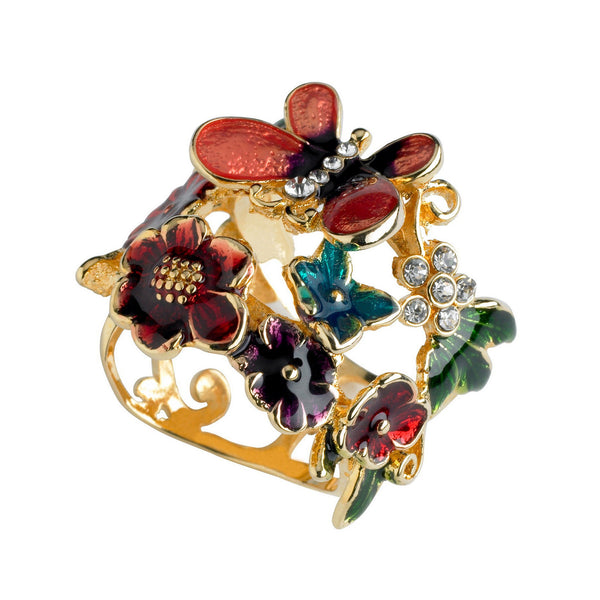 Guess Multicolor Enamel Butterfly and Flower Ring