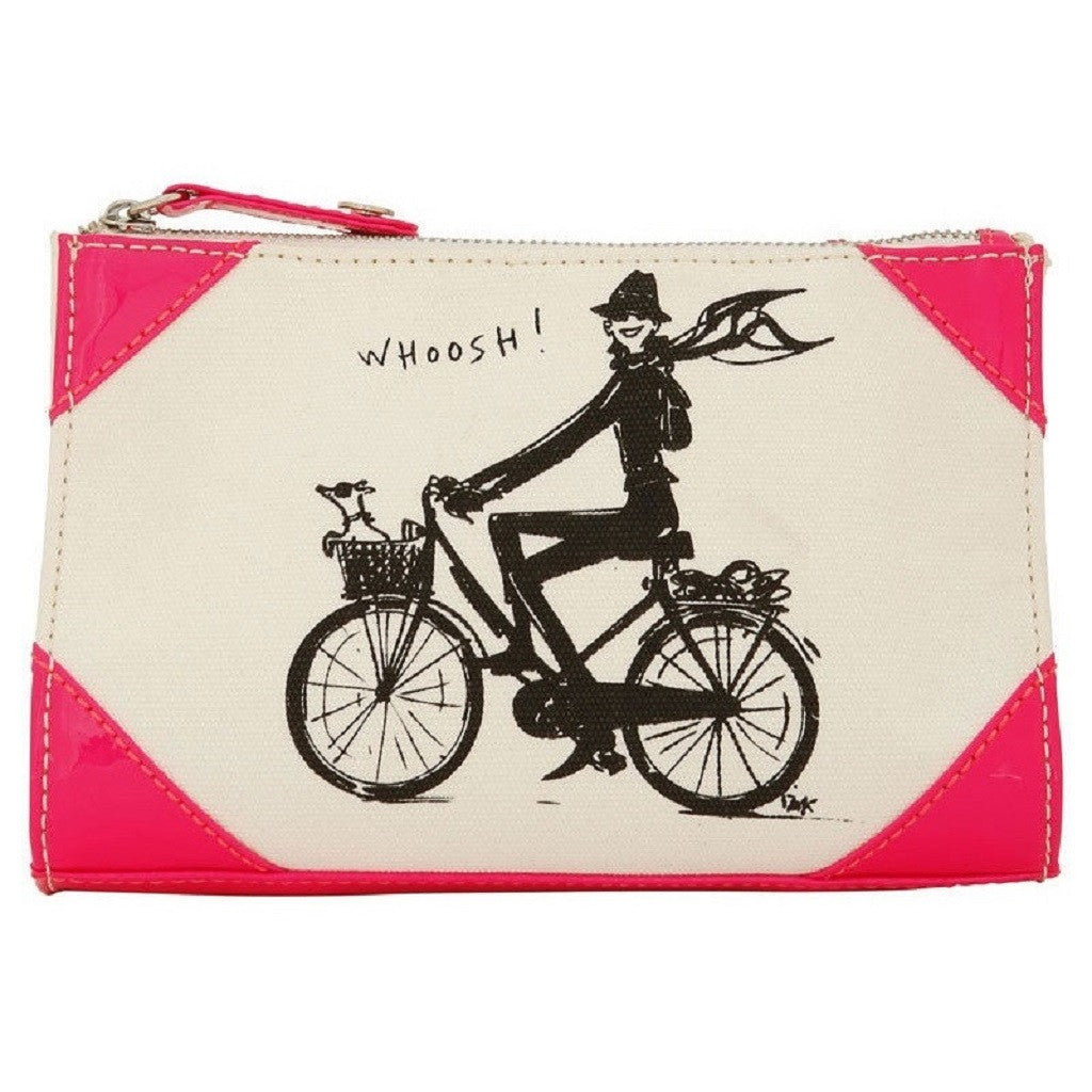 Izak Zenou Neon Pink Canvas Cosmetic Bag