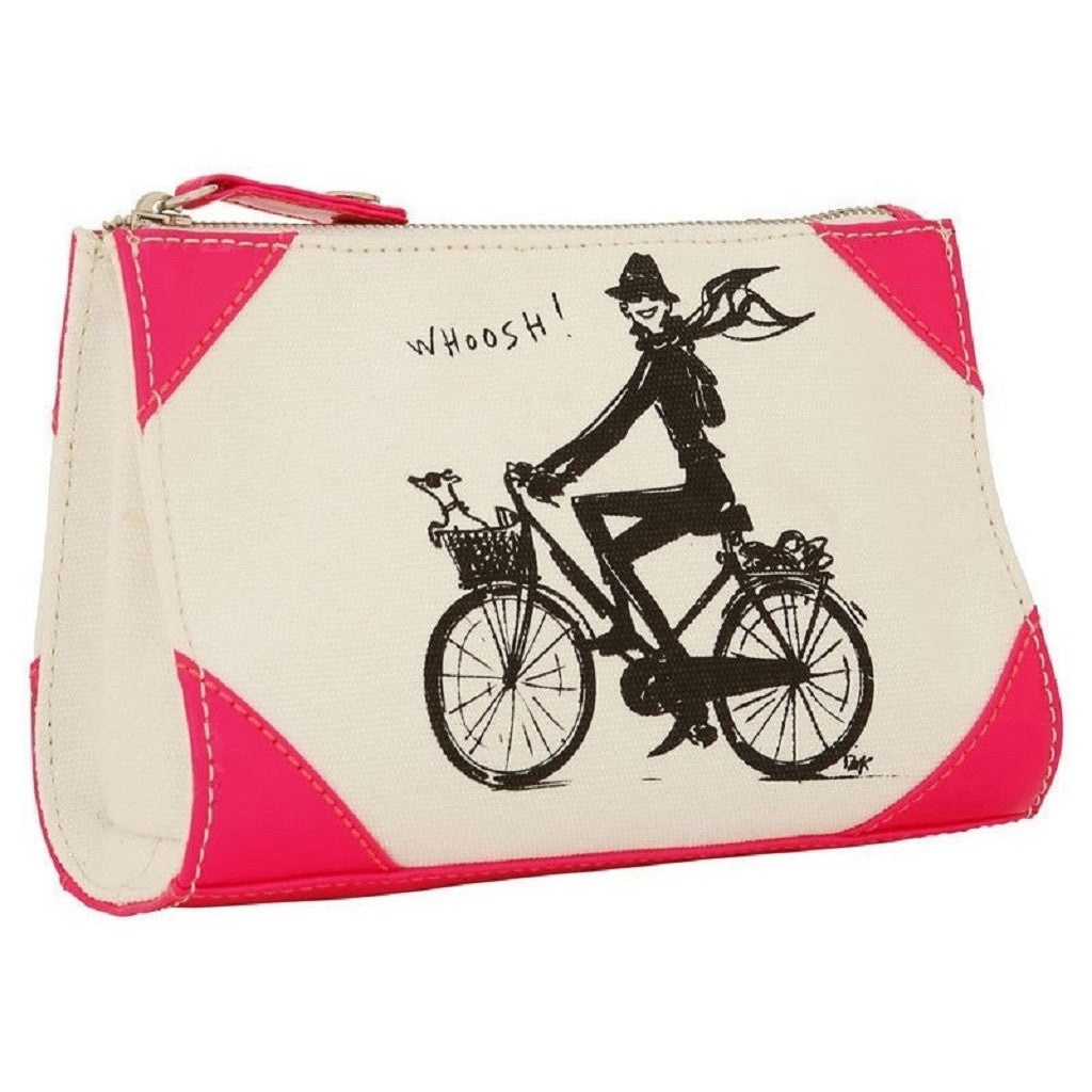 Izak Zenou Neon Pink Canvas Cosmetic Bag Side View