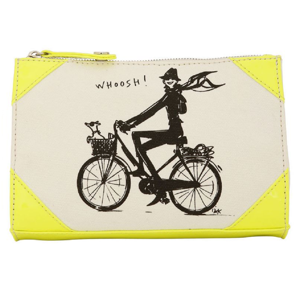 Izak Zenou Neon Yellow Canvas Cosmetic Bag