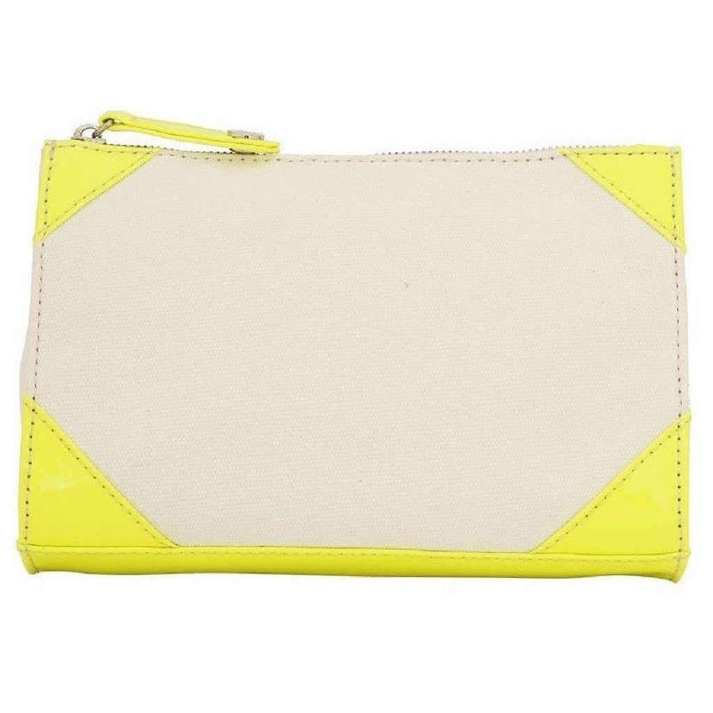 Izak Zenou Neon Yellow Canvas Cosmetic Bag Back View