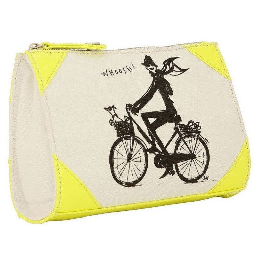 Izak Zenou Neon Yellow Canvas Cosmetic Bag Side View
