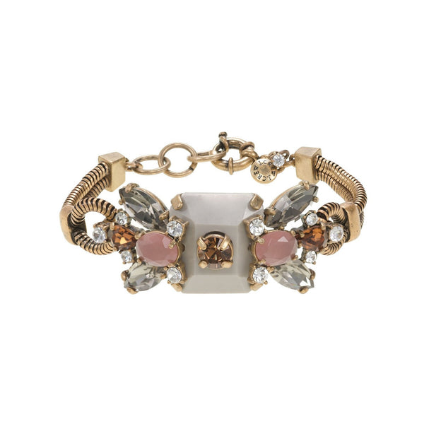 J.Crew Gold Crystal and Stone Row Bracelet