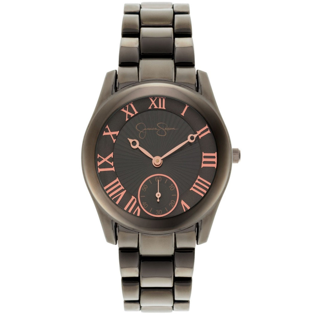 Jessica Simpson Gunmetal Ionplated Bracelet Watch with Gunmetal tone dial, rose gold tone roman numerals, two hands, subdial at six and logo.