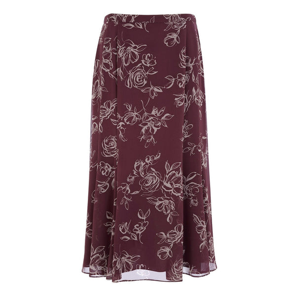 Jacques Vert Purple Rose Print Skirt