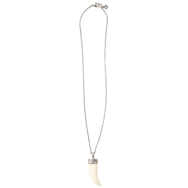 Sterling Silver Dipped Barley Chain with Ivory Lucite Tusk