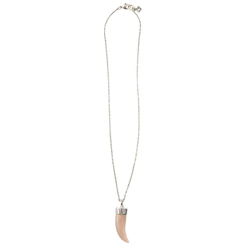 Jenny Bird Taupe Tusk Necklace with Barley Sterling Silver Plated Chain