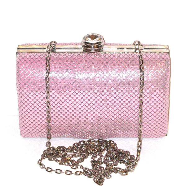 Jessica McClintock Pink Mesh Box Clutch brings understated glam to a classic box clutch furnished with a dainty drop-in chain strap