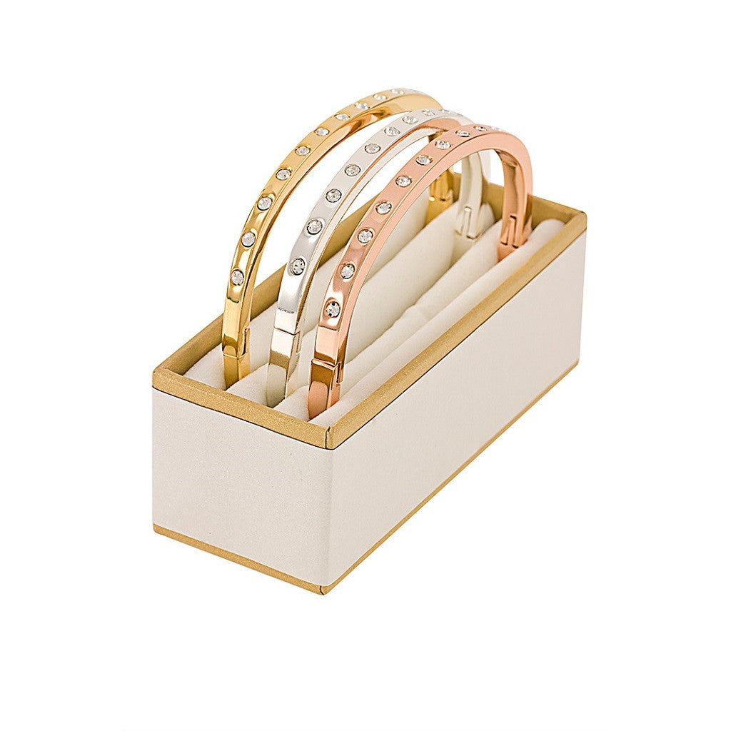 Just Jewels Tri-Color Crystal Bangles