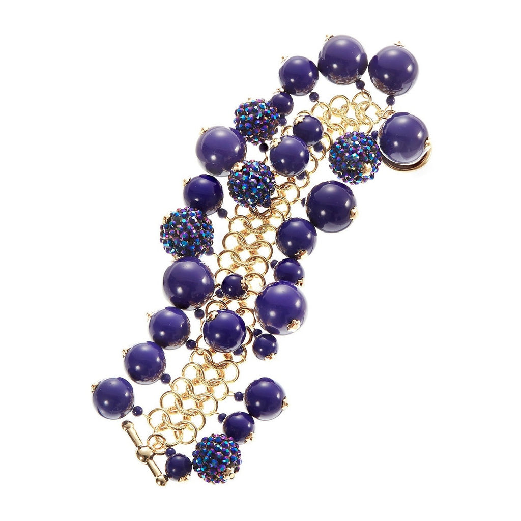 KENNETH JAY LANE Couture Lapis Tiffany Clasp Bracelet
