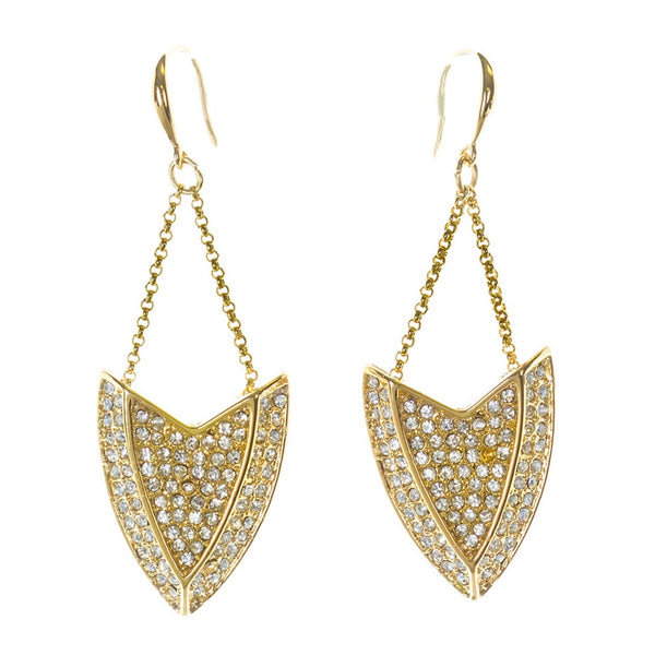 Kara Ross Gold Zirconia Drop Earrings