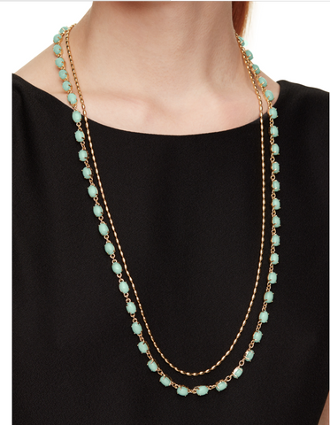 Kate Spade Mint Seastone layered necklac in a 12K gold plated chain and semiprecious stones.