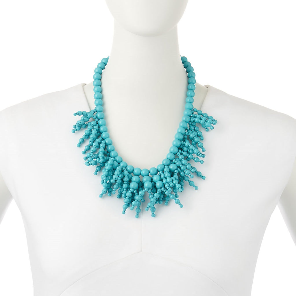 Kate Spade Turquoise Fringe Bead Necklace on Mannequin