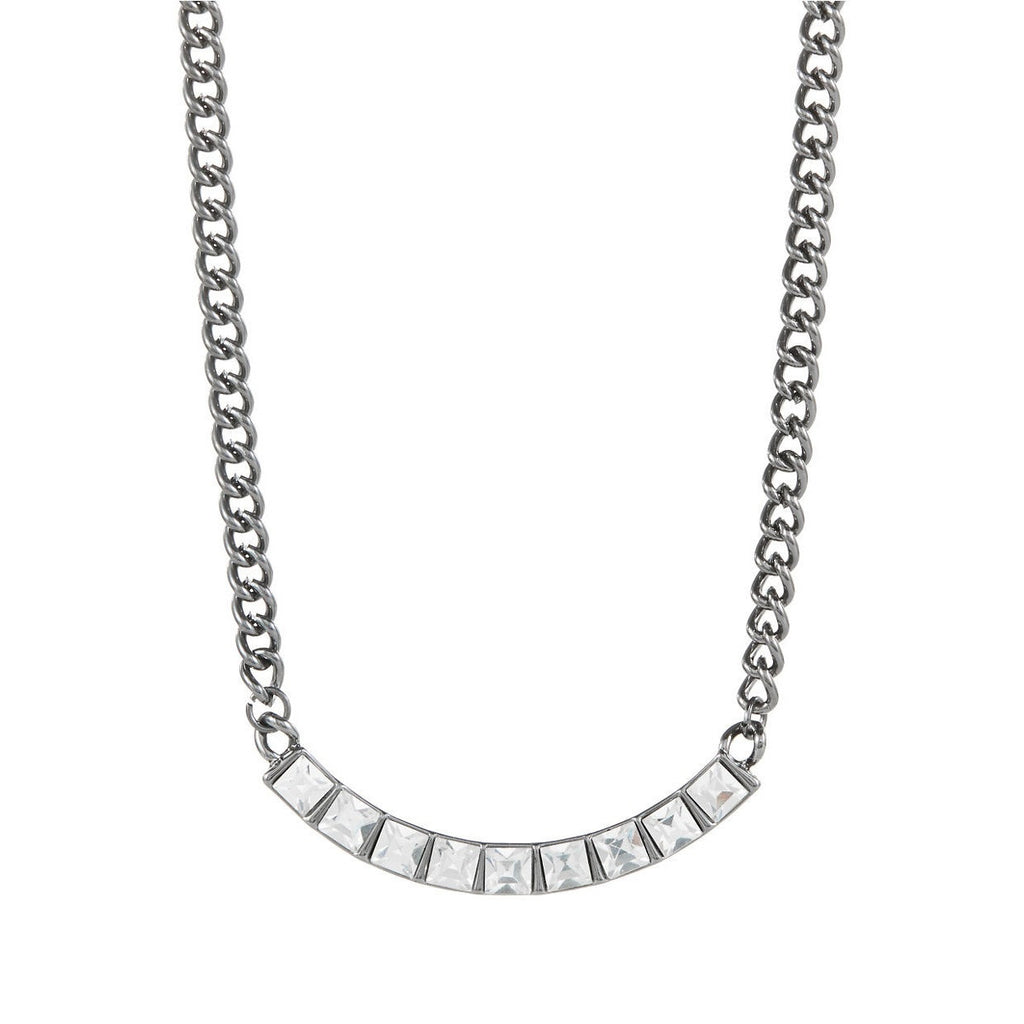 Kensie Silver Rhinestone Chain Necklace